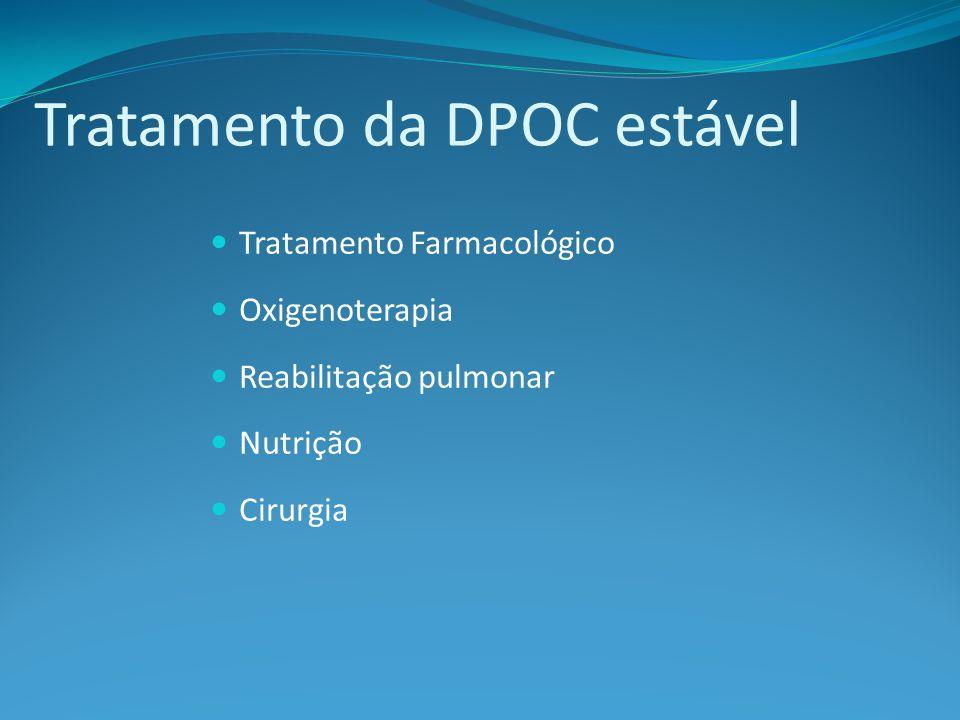 Tratamento da DPOC estável Tratamento Farmacológico Oxigenoterapia Reabilitação pulmonar Nutrição Cirurgia