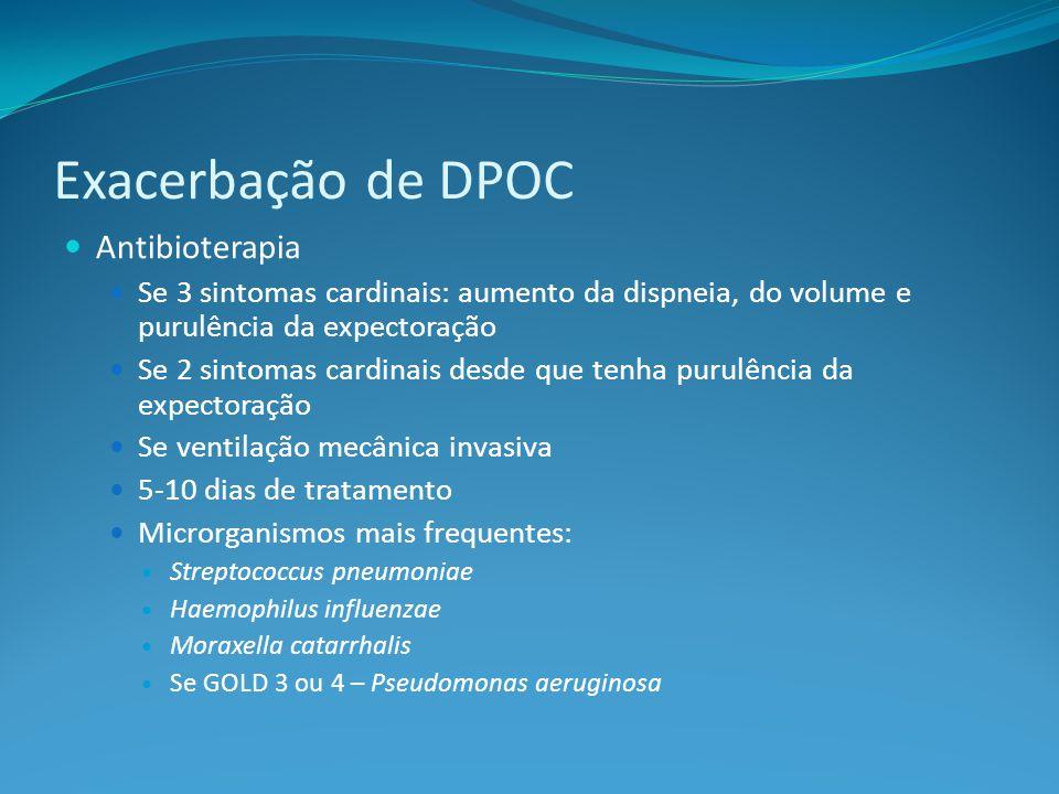 Antibioterapia Se 3 sintomas cardinais: aumento da dispneia, do volume e purulência da expectoração Se 2 sintomas cardinais desde que tenha purulência da expectoração Se ventilação mecânica invasiva 5-10 dias de tratamento Microrganismos mais frequentes: Streptococcus pneumoniae Haemophilus influenzae Moraxella catarrhalis Se GOLD 3 ou 4 – Pseudomonas aeruginosa Exacerbação de DPOC