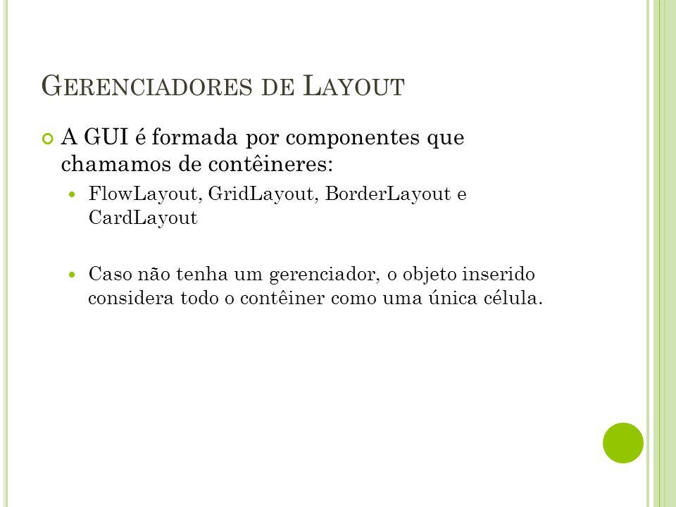 G ERENCIADORES DE L AYOUT A GUI é formada por componentes que chamamos de contêineres: FlowLayout, GridLayout, BorderLayout e CardLayout Caso não tenh