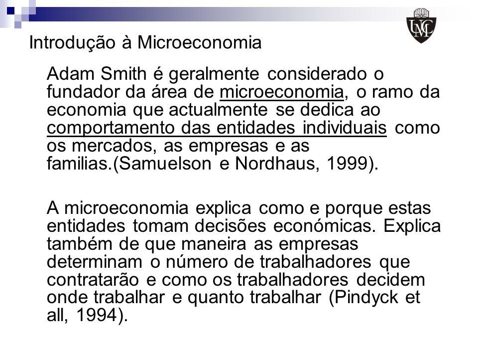 Introdução à Microeconomia Adam Smith é geralmente considerado o fundador da área de microeconomia, o ramo da economia que actualmente se dedica ao co