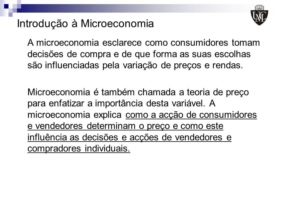 Introdução à Microeconomia A microeconomia esclarece como consumidores tomam decisões de compra e de que forma as suas escolhas são influenciadas pela
