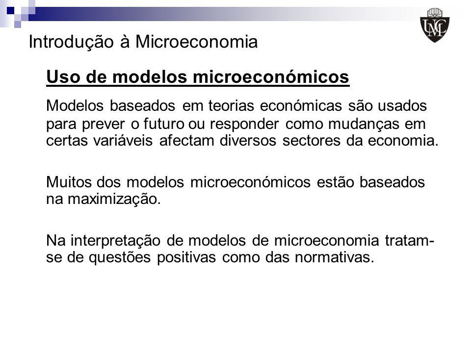 Introdução à Microeconomia Uso de modelos microeconómicos Modelos baseados em teorias económicas são usados para prever o futuro ou responder como mud