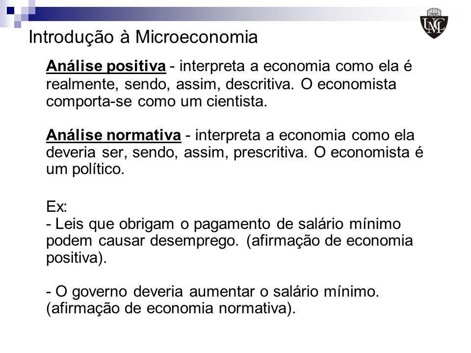 Introdução à Microeconomia Análise positiva - interpreta a economia como ela é realmente, sendo, assim, descritiva. O economista comporta-se como um c