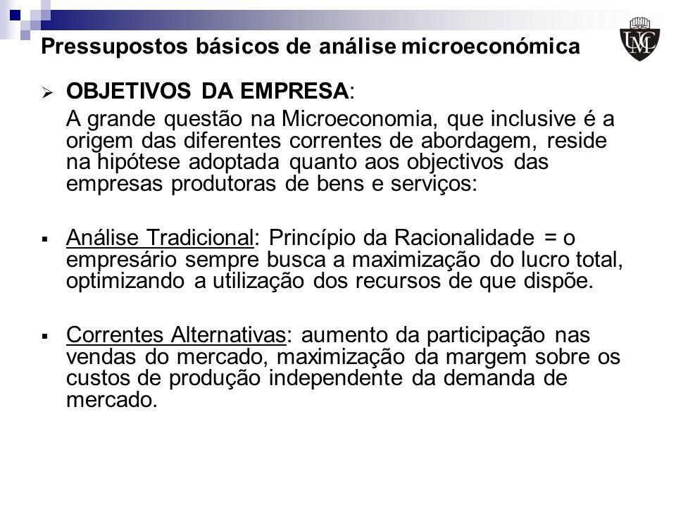 Pressupostos básicos de análise microeconómica OBJETIVOS DA EMPRESA: A grande questão na Microeconomia, que inclusive é a origem das diferentes corren