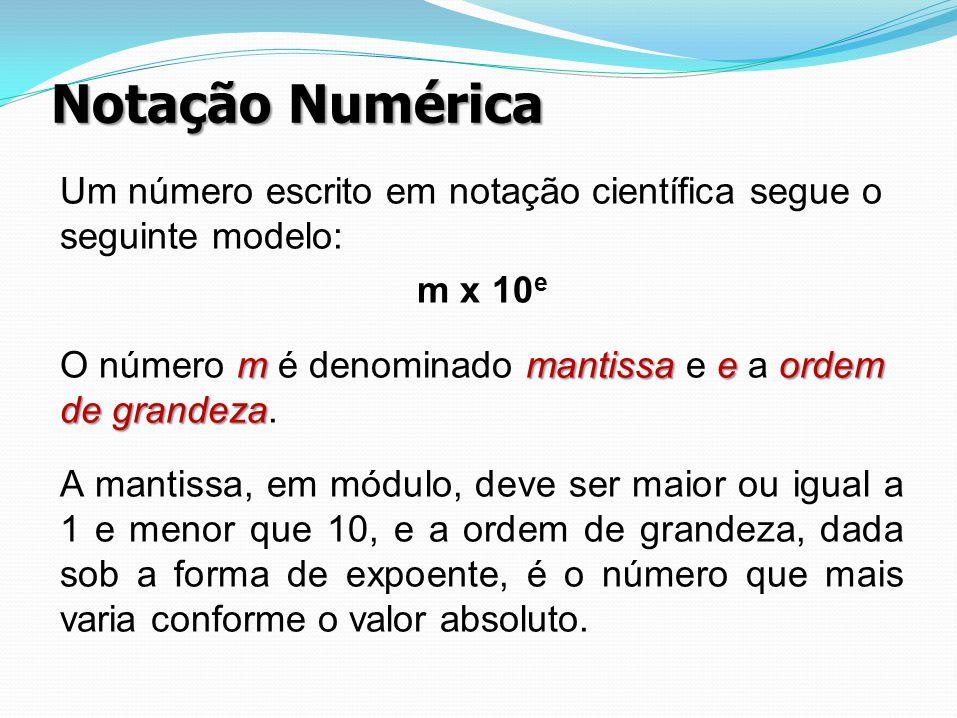 Notação Numérica Um número escrito em notação científica segue o seguinte modelo: m x 10 e mmantissaeordem de grandeza O número m é denominado mantiss