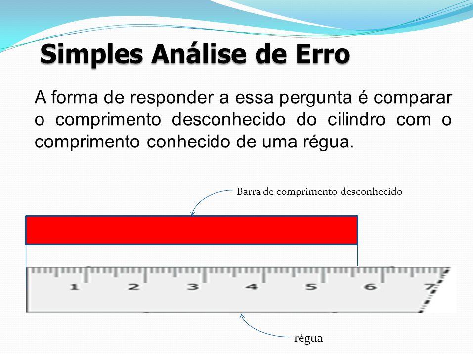Simples Análise de Erro Barra de comprimento desconhecido régua A forma de responder a essa pergunta é comparar o comprimento desconhecido do cilindro