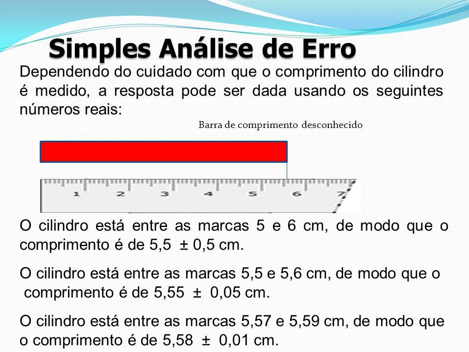 Simples Análise de Erro Barra de comprimento desconhecido O cilindro está entre as marcas 5 e 6 cm, de modo que o comprimento é de 5,5 ± 0,5 cm. O cil