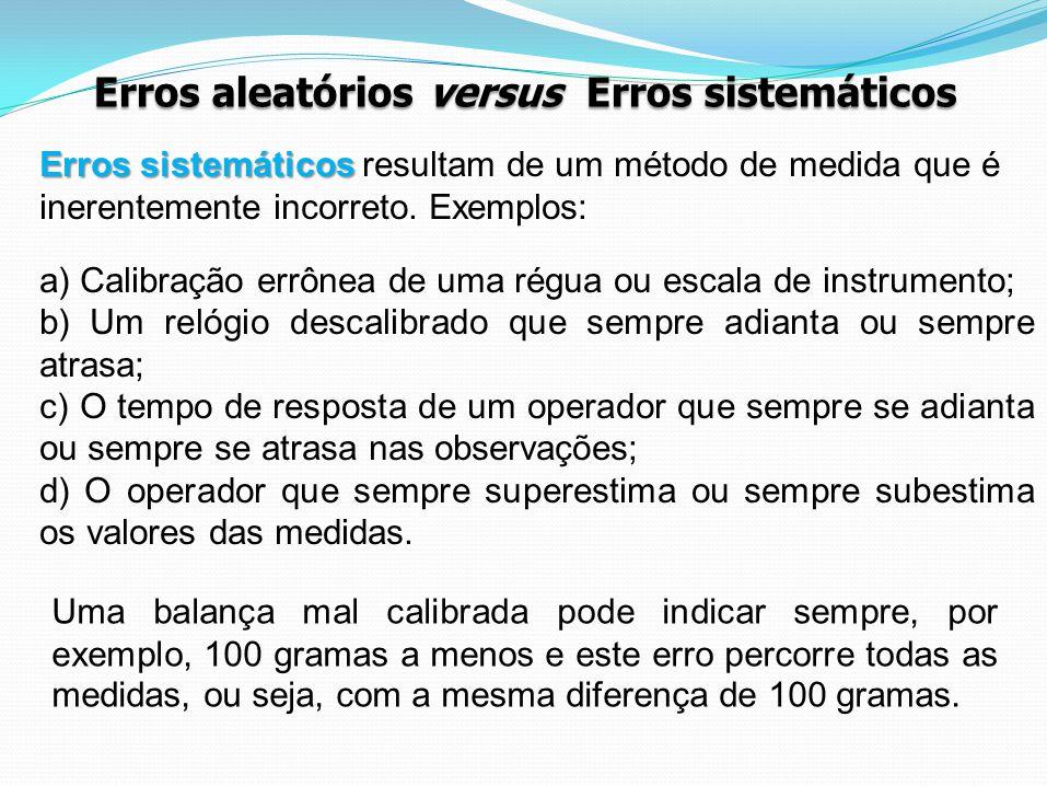 Erros aleatórios versus Erros sistemáticos Erros sistemáticos Erros sistemáticos resultam de um método de medida que é inerentemente incorreto. Exempl