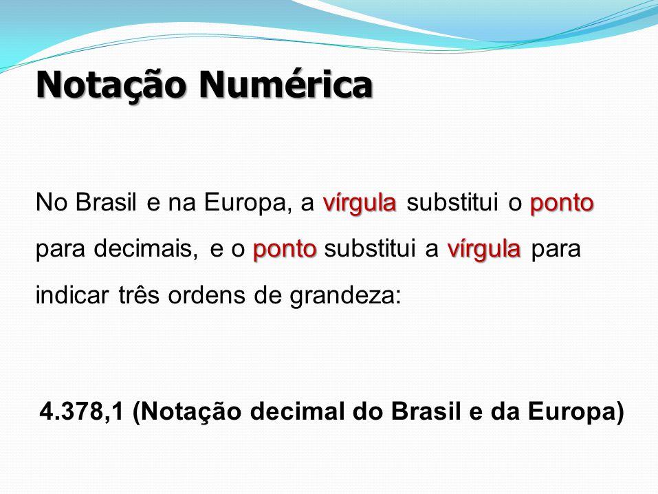 Notação Numérica vírgulaponto pontovírgula No Brasil e na Europa, a vírgula substitui o ponto para decimais, e o ponto substitui a vírgula para indica