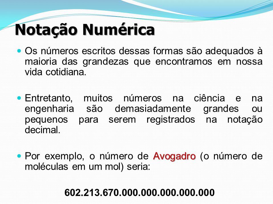 Notação Numérica Os números escritos dessas formas são adequados à maioria das grandezas que encontramos em nossa vida cotidiana. Entretanto, muitos n