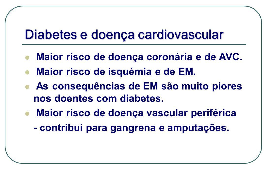 Diabetes e doença cardiovascular Maior risco de doença coronária e de AVC. Maior risco de isquémia e de EM. As consequências de EM são muito piores no