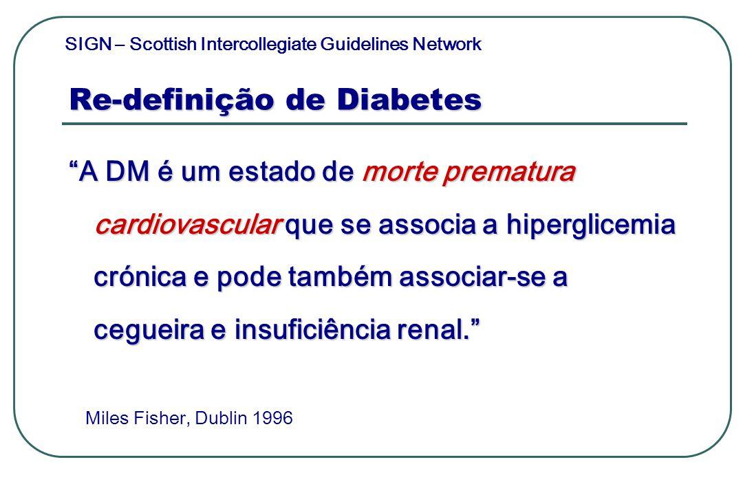 Re-definição de Diabetes A DM é um estado de morte prematura cardiovascular que se associa a hiperglicemia crónica e pode também associar-se a cegueir