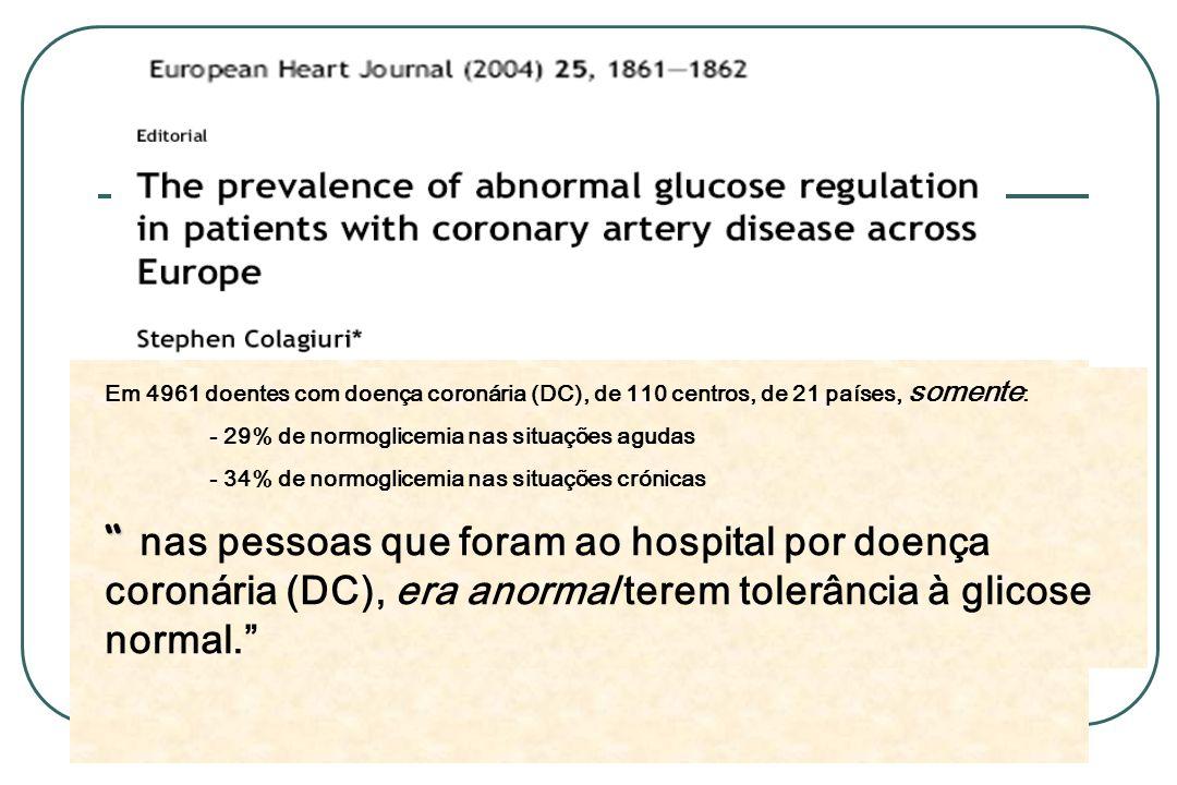 Em 4961 doentes com doença coronária (DC), de 110 centros, de 21 países, somente : - 29% de normoglicemia nas situações agudas - 34% de normoglicemia