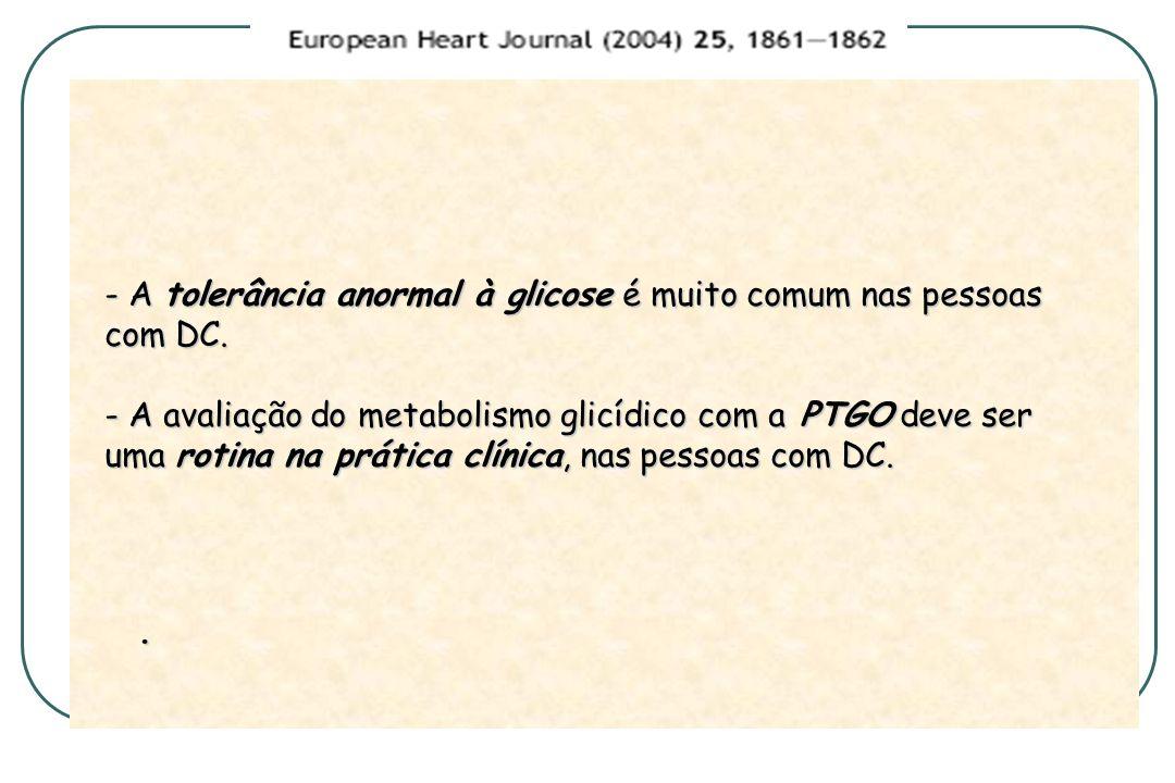 - A tolerância anormal à glicose é muito comum nas pessoas com DC. - A avaliação do metabolismo glicídico com a PTGO deve ser uma rotina na prática cl