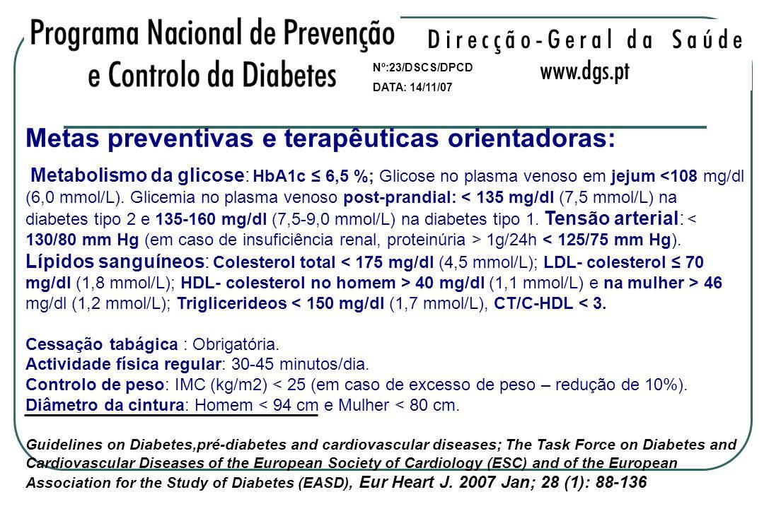 Metas preventivas e terapêuticas orientadoras: Metabolismo da glicose: HbA1c 6,5 %; Glicose no plasma venoso em jejum 1g/24h < 125/75 mm Hg). Lípidos