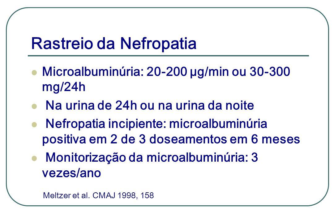 Rastreio da Nefropatia Microalbuminúria: 20-200 µg/min ou 30-300 mg/24h Na urina de 24h ou na urina da noite Nefropatia incipiente: microalbuminúria p