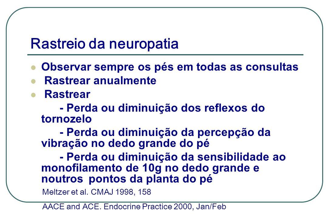 Rastreio da neuropatia Observar sempre os pés em todas as consultas Rastrear anualmente Rastrear - Perda ou diminuição dos reflexos do tornozelo - Per