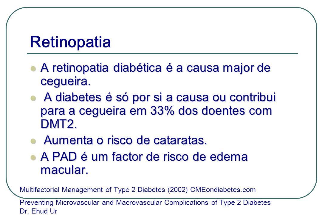 Retinopatia A retinopatia diabética é a causa major de cegueira. A retinopatia diabética é a causa major de cegueira. A diabetes é só por si a causa o
