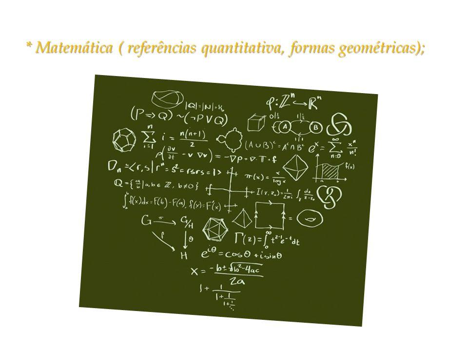 * Matemática ( referências quantitativa, formas geométricas);