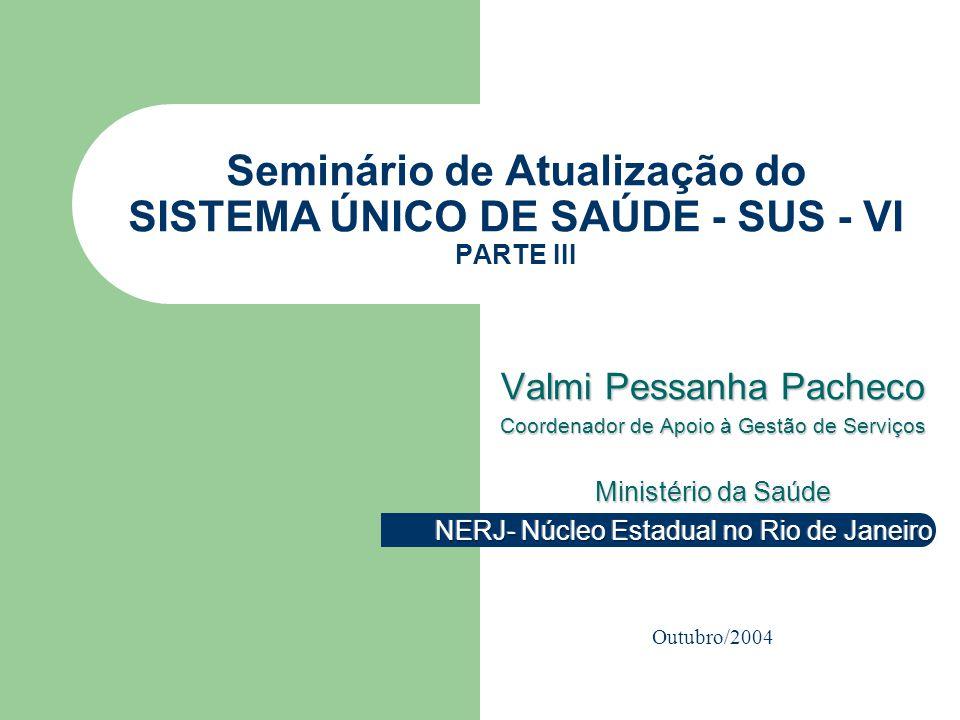 VP2 out/2004 Seminário de Atualização do SUS VI – NERJ - MS 2 SISTEMAS DE INFORMAÇÕES EPIDEMIOLOGIA -NASCIDOS VIVOS – SINASC -MORTALIDADE – SIM -AGRAVOS DE NOTIFICAÇÃO - SINAN -VIGILÂNCIA NUTRICIONAL - SISVAN -AÇÕES BÁSICAS – PROGRAMA DE SAÚDE DA FAMÍLIA (PSF) E DE AGENTES COMUNITÁRIOS DE SAÚDE (PACS)- SIAB -PROGRAMA DE HUMANIZAÇÃO NO PARTO E NASCIMENTO - SISPRENATAL -PROGRAMA DE HIPERTENSÃO ARTERIAL E DIABETES MELLITUS – SISHIPERDIA -PROGRAMAS DE SAÚDE PÚBLICA PRODUÇÃO DE SERVIÇOS AMBULATORIAIS – SIA/SUS Boletim de Produção Ambulatorial – BPA Autorização de Procedimentos de Alto Custo/Complexidade - APAC INTERNAÇÕES – SIH/SUS Autorização de Internação Hospitalar – AIH Alta Complexidade - SIPAC Câmara Nacional de Compensação CENTRAIS DE REGULAÇÃO Fontes: Leis n.º 8080/90 e n.º 8.142/90 Portaria GM/MS n.º 545/93 – NOB – SUS n.º 01/93, DOU 24.05.1993 Portaria GM/MS n.º 2203/96 – NOB – SUS n.º 01/96, DOU 06.11.1996 Portaria GM/MS n.º 373 – NOAS – SUS n.º 01/02, DOU 28.02.2002 MODELO DE GESTÃO