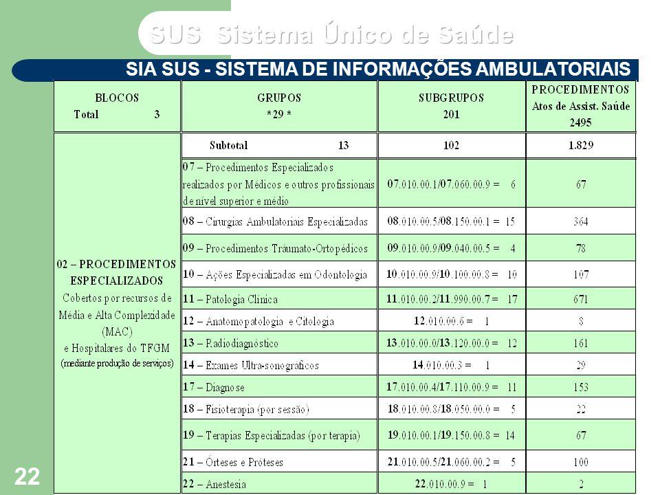 VP2 out/2004 Seminário de Atualização do SUS VI – NERJ - MS 22 SIA SUS - SISTEMA DE INFORMAÇÕES AMBULATORIAIS