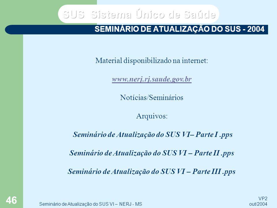 VP2 out/2004 Seminário de Atualização do SUS VI – NERJ - MS 46 SEMINÁRIO DE ATUALIZAÇÃO DO SUS - 2004 Material disponibilizado na internet: www.nerj.r