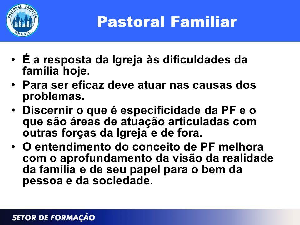 Pastoral Familiar É a resposta da Igreja às dificuldades da família hoje.