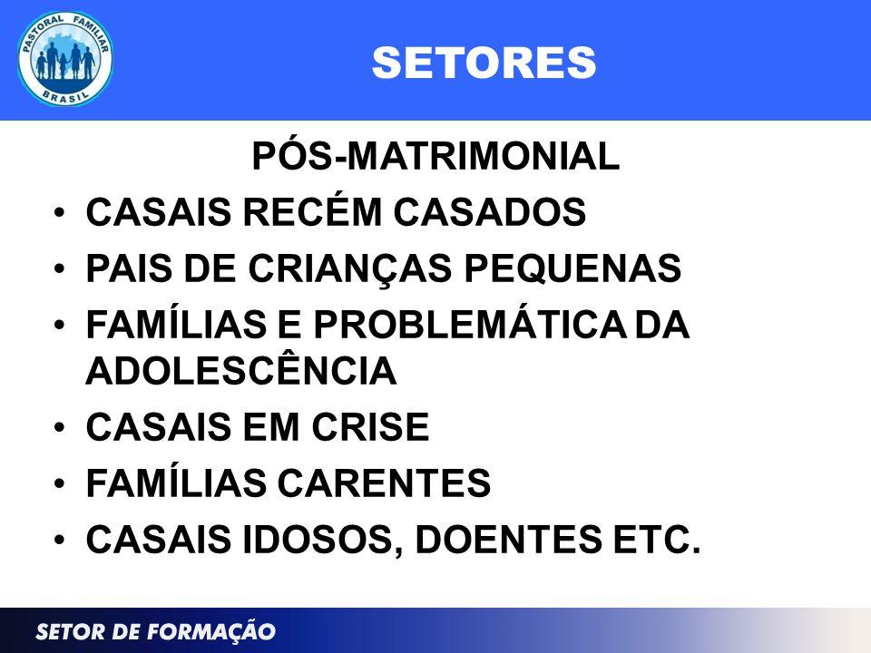 SETORES PÓS-MATRIMONIAL CASAIS RECÉM CASADOS PAIS DE CRIANÇAS PEQUENAS FAMÍLIAS E PROBLEMÁTICA DA ADOLESCÊNCIA CASAIS EM CRISE FAMÍLIAS CARENTES CASAIS IDOSOS, DOENTES ETC.