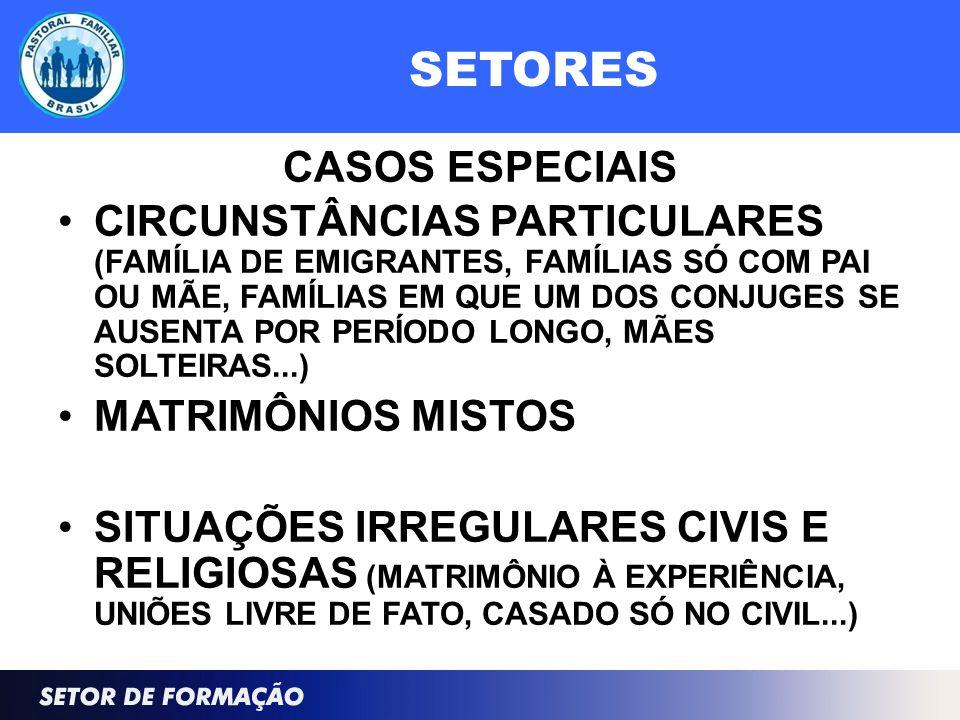 SETORES CASOS ESPECIAIS CIRCUNSTÂNCIAS PARTICULARES (FAMÍLIA DE EMIGRANTES, FAMÍLIAS SÓ COM PAI OU MÃE, FAMÍLIAS EM QUE UM DOS CONJUGES SE AUSENTA POR PERÍODO LONGO, MÃES SOLTEIRAS...) MATRIMÔNIOS MISTOS SITUAÇÕES IRREGULARES CIVIS E RELIGIOSAS (MATRIMÔNIO À EXPERIÊNCIA, UNIÕES LIVRE DE FATO, CASADO SÓ NO CIVIL...)