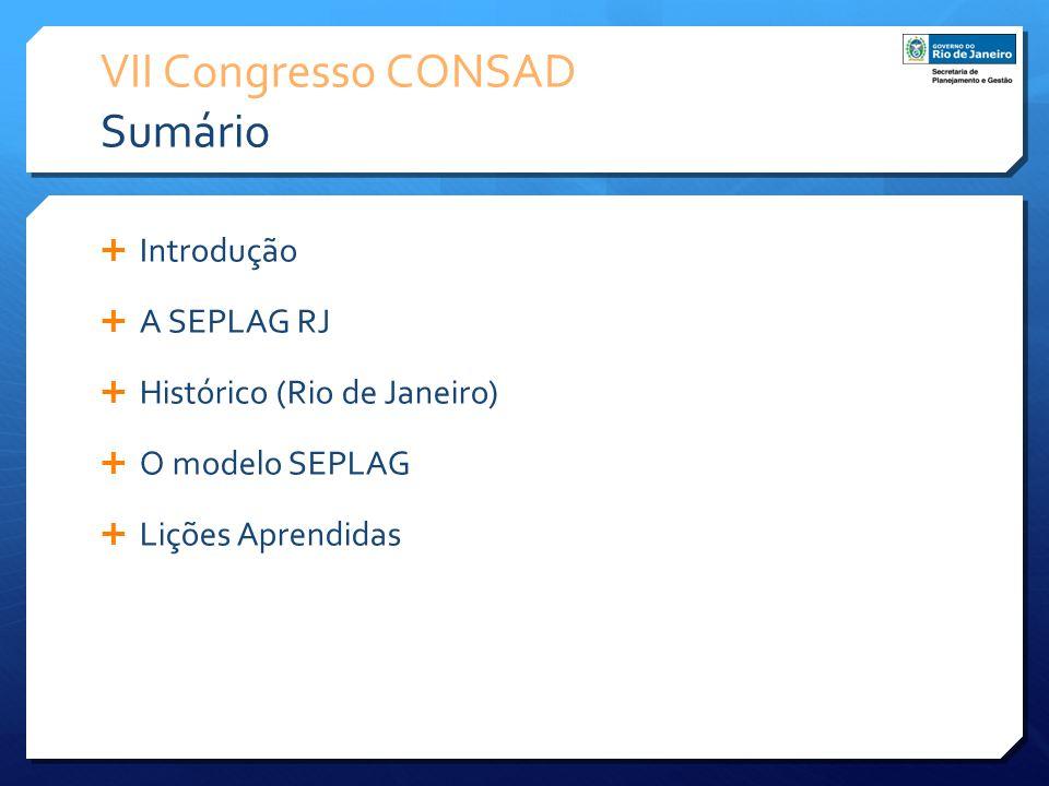 VII Congresso CONSAD Sumário Introdução A SEPLAG RJ Histórico (Rio de Janeiro) O modelo SEPLAG Lições Aprendidas