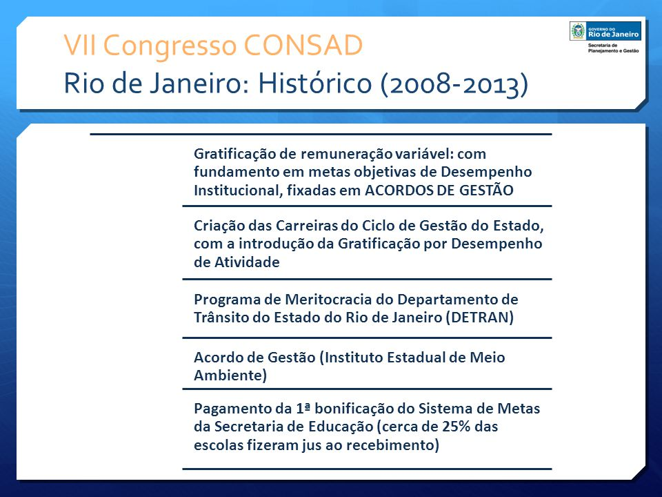 VII Congresso CONSAD Rio de Janeiro: Histórico (2008-2013) Gratificação de remuneração variável: com fundamento em metas objetivas de Desempenho Insti