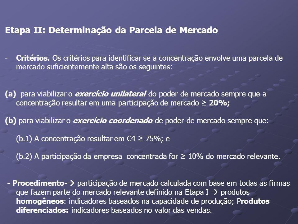 Etapa II: Determinação da Parcela de Mercado -Critérios. Os critérios para identificar se a concentração envolve uma parcela de mercado suficientement