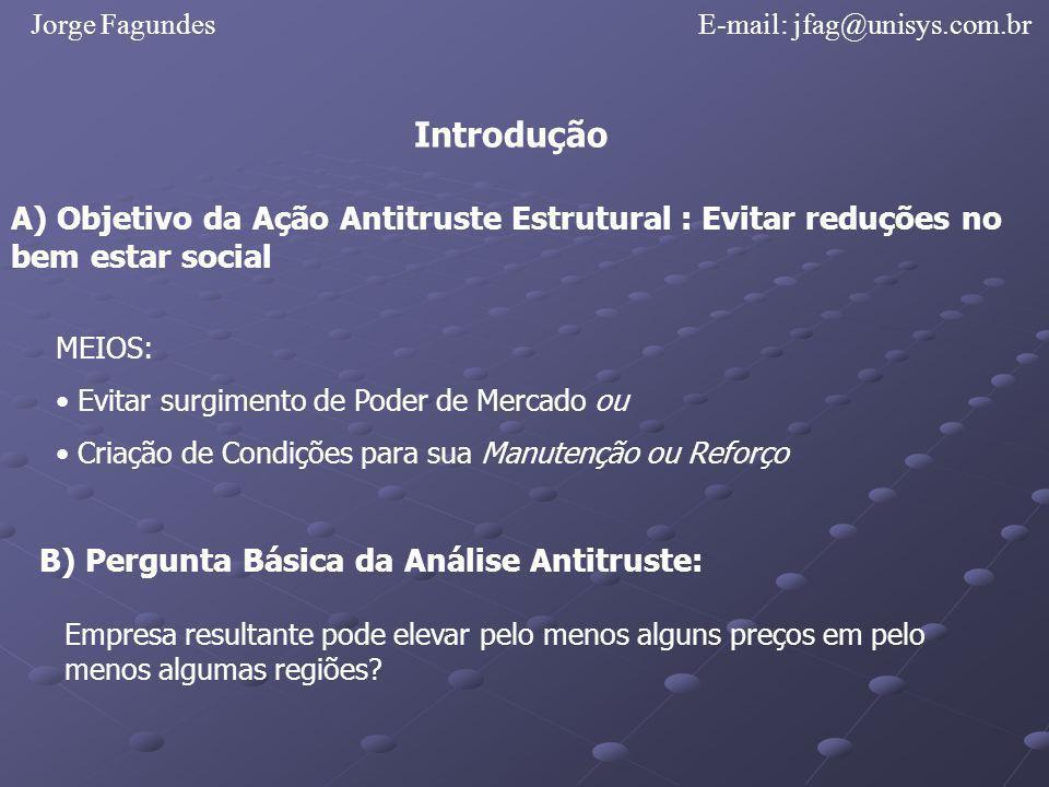 Jorge FagundesE-mail: jfag@unisys.com.br Introdução A) Objetivo da Ação Antitruste Estrutural : Evitar reduções no bem estar social MEIOS: Evitar surg