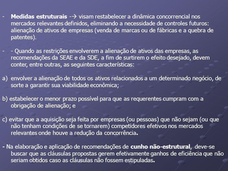 -Medidas estruturais - visam restabelecer a dinâmica concorrencial nos mercados relevantes definidos, eliminando a necessidade de controles futuros: a