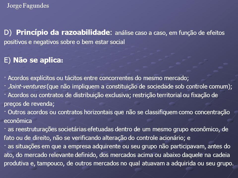 Jorge Fagundes D) Princípio da razoabilidade: análise caso a caso, em função de efeitos positivos e negativos sobre o bem estar social E) Não se aplic
