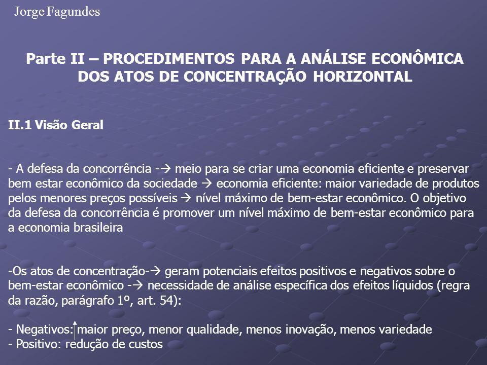 Jorge Fagundes Parte II – PROCEDIMENTOS PARA A ANÁLISE ECONÔMICA DOS ATOS DE CONCENTRAÇÃO HORIZONTAL II.1 Visão Geral - A defesa da concorrência - mei