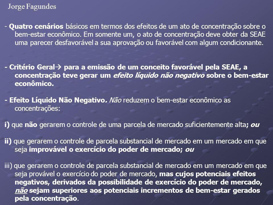 Jorge Fagundes - Quatro cenários básicos em termos dos efeitos de um ato de concentração sobre o bem-estar econômico. Em somente um, o ato de concentr