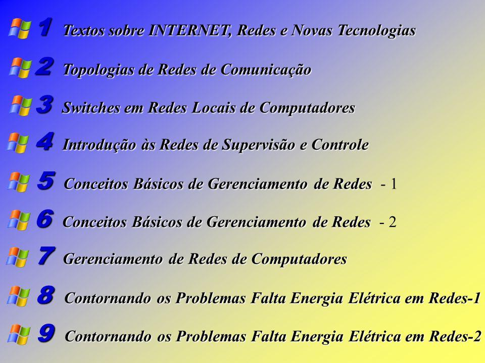 1 Textos sobre INTERNET, Redes e Novas Tecnologias 2 Topologias de Redes de Comunicação 3 Switches em Redes Locais de Computadores 4 Introdução às Redes de Supervisão e Controle 5 Conceitos Básicos de Gerenciamento de Redes Conceitos Básicos de Gerenciamento de Redes - 1 6 Conceitos Básicos de Gerenciamento de Redes Conceitos Básicos de Gerenciamento de Redes - 2 7 Gerenciamento de Redes de Computadores 8 Contornando os Problemas Falta Energia Elétrica em Redes-1 9 Contornando os Problemas Falta Energia Elétrica em Redes-2