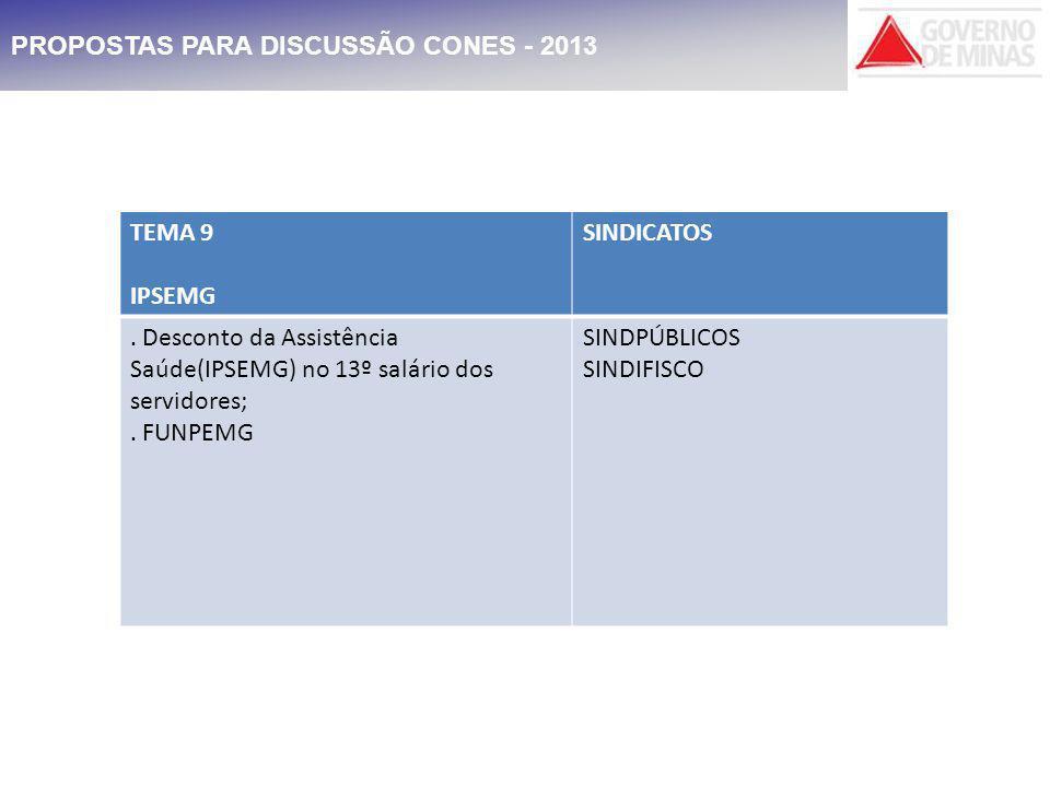 PROPOSTAS PARA DISCUSSÃO CONES - 2013 TEMA 9 IPSEMG SINDICATOS.