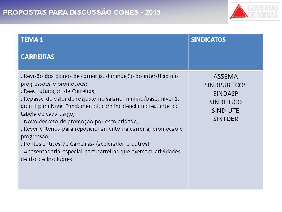 PROPOSTAS PARA DISCUSSÃO CONES - 2013 TEMA 1 CARREIRAS SINDICATOS.