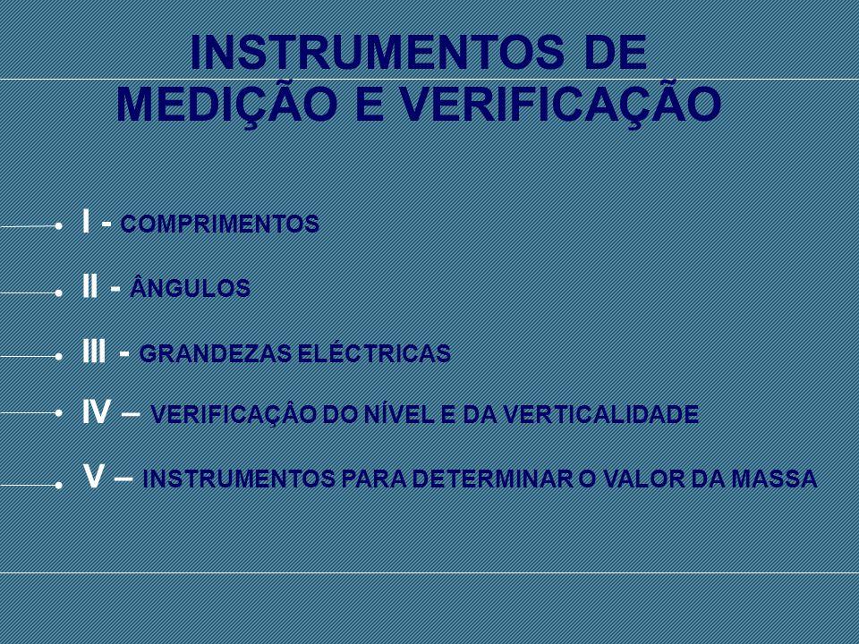 SISTEMA INTERNACIONAL DE UNIDADES - SI I - COMPRIMENTOS II - ÂNGULOS III - GRANDEZAS ELÉCTRICAS IV – VERIFICAÇÂO DO NÍVEL E DA VERTICALIDADE INSTRUMENTOS DE MEDIÇÃO E VERIFICAÇÃO V – INSTRUMENTOS PARA DETERMINAR O VALOR DA MASSA