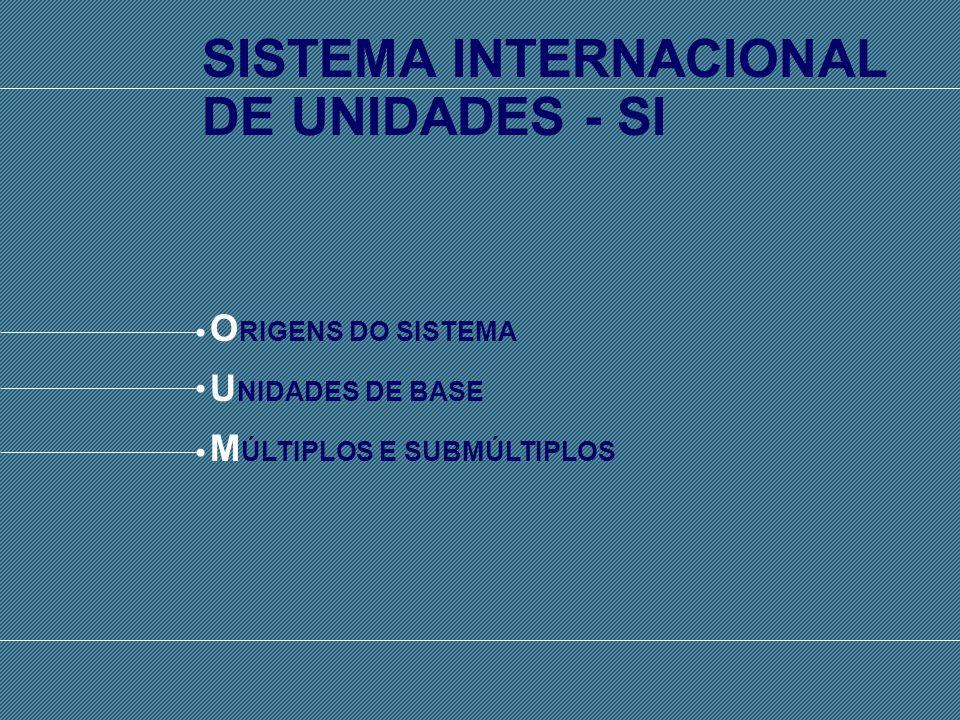 SISTEMA INTERNACIONAL DE UNIDADES - SI SISTEMA INTERNACIONAL DE UNIDADES - SI O RIGENS DO SISTEMA U NIDADES DE BASE M ÚLTIPLOS E SUBMÚLTIPLOS