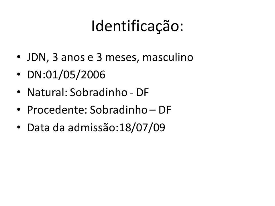 Identificação: JDN, 3 anos e 3 meses, masculino DN:01/05/2006 Natural: Sobradinho - DF Procedente: Sobradinho – DF Data da admissão:18/07/09