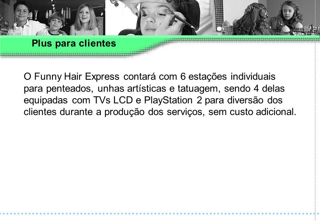 O Funny Hair Express contará com 6 estações individuais para penteados, unhas artísticas e tatuagem, sendo 4 delas equipadas com TVs LCD e PlayStation