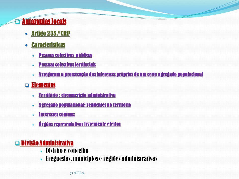 Autarquias locais Autarquias locais Artigo 235.ª CRP Artigo 235.ª CRP Caracteristicas Caracteristicas Pessoas colectivas públicas Pessoas colectivas p