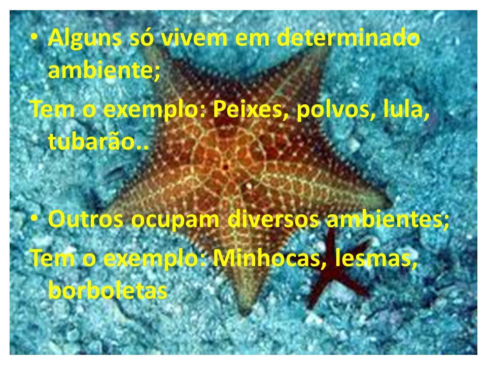 Alguns só vivem em determinado ambiente; Tem o exemplo: Peixes, polvos, lula, tubarão.. Outros ocupam diversos ambientes; Tem o exemplo: Minhocas, les
