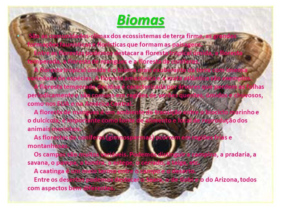 Biomas São as comunidades-clímax dos ecossistemas de terra firme, as grandes formações faunísticas e florísticas que formam as paisagens. Entre as flo