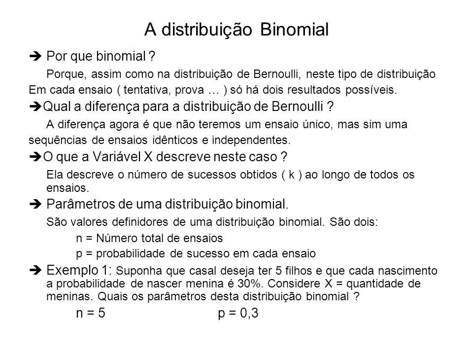 A distribuição Binomial Por que binomial ? Porque, assim como na distribuição de Bernoulli, neste tipo de distribuição Em cada ensaio ( tentativa, pro
