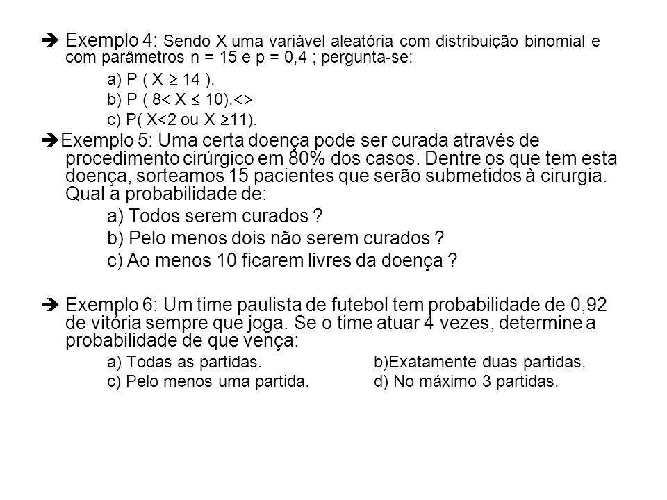 Exemplo 4: Sendo X uma variável aleatória com distribuição binomial e com parâmetros n = 15 e p = 0,4 ; pergunta-se: a) P ( X 14 ). b) P ( 8 X 10). c)