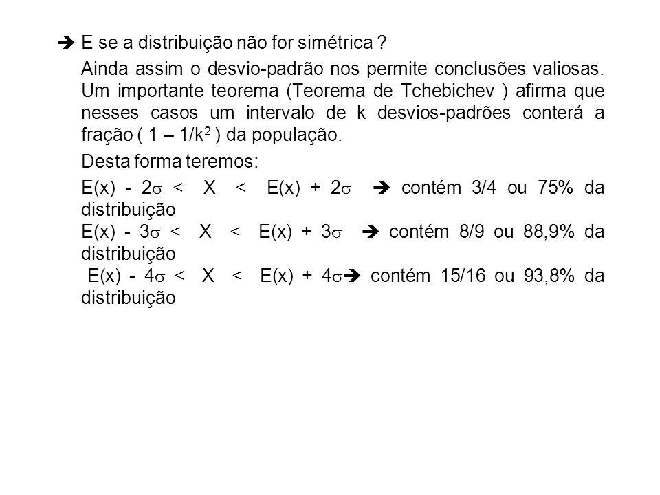 E se a distribuição não for simétrica ? Ainda assim o desvio-padrão nos permite conclusões valiosas. Um importante teorema (Teorema de Tchebichev ) af